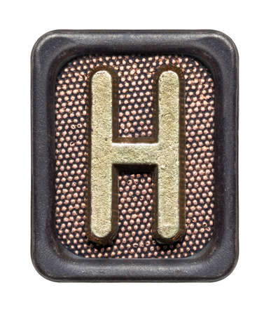 Metal button alphabet letter H photo