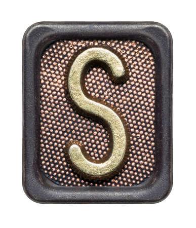 s alphabet: Metal button alphabet letter S Stock Photo