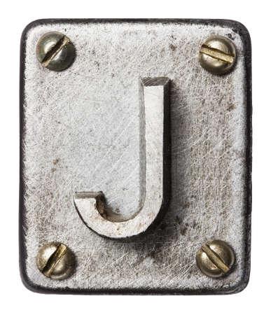 alphabet lettre: Vieux lettre de l'alphabet en m�tal J