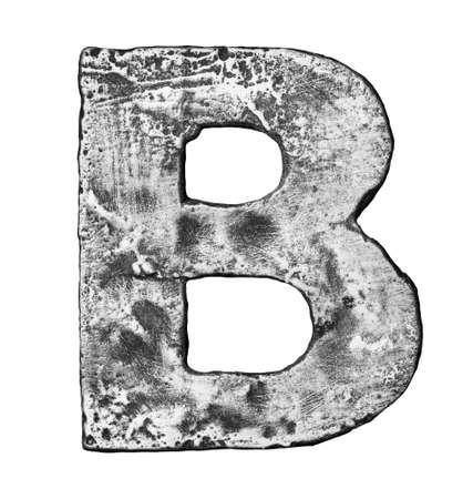 Metal alloy alphabet letter B photo