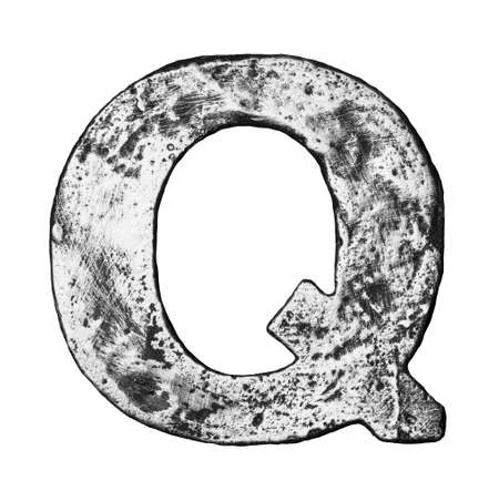 Metal alloy alphabet letter Q photo