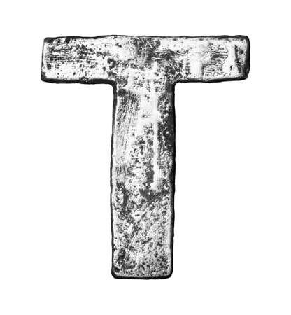 letras cromadas: Aleaci?n de metal alfabeto letra T Foto de archivo
