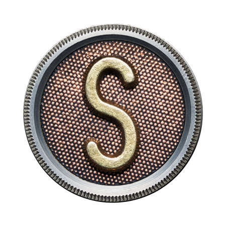 rusty metal texture: Metal button alphabet letter