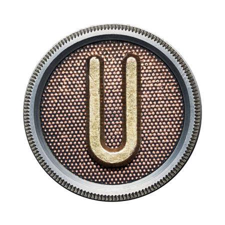 Metal button alphabet letter photo
