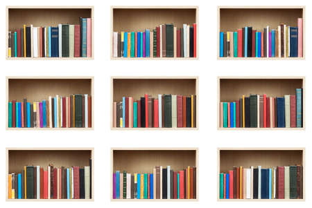 Books on shelves, isolated set. photo
