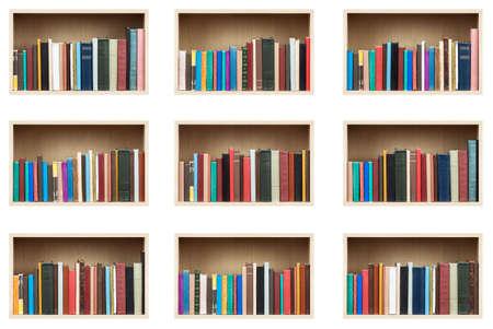 Books on shelves, isolated set. Stock Photo