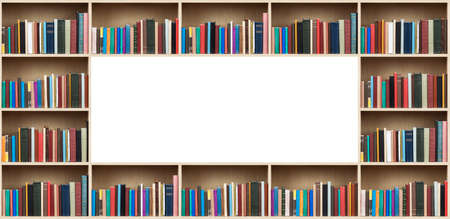 Books on wooden shelves with copy space. photo