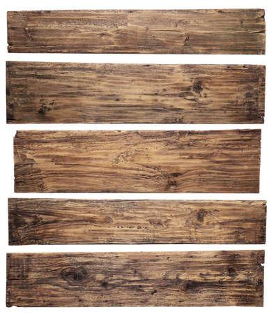 白い背景上に分離されて古い木製の板