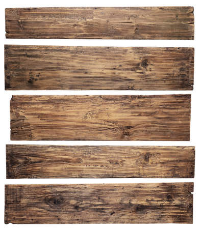 Old wooden planks isolated on white background Stock Photo