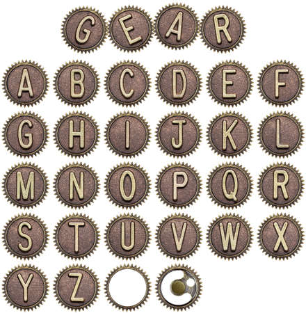 Alphabet made of cogwheels, gear letters. photo