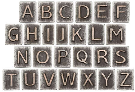 Metal alphabet letters isolated on white Stock Photo - 23335562