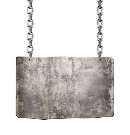 Metal sign hanging on a chain, isolated. photo