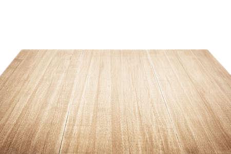 흰색에 고립 된 나무 테이블 스톡 콘텐츠