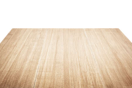 Wooden table isolated on white Stock Photo