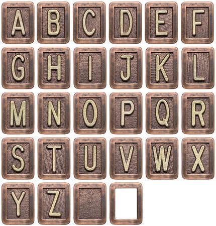 Letras de metal alfabeto isoladas no branco