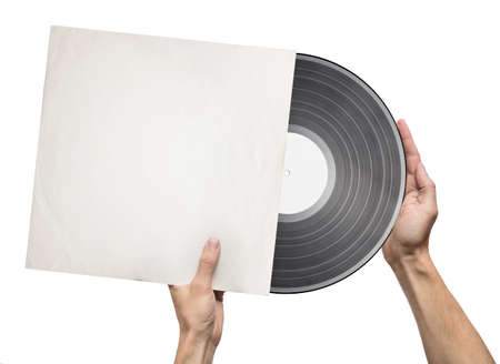 Hands holding vinyl record in a paper case photo