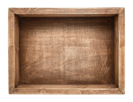 Empty wooden box isolated on white photo