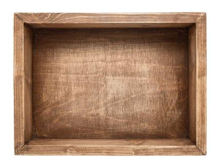 Lege houten doos geïsoleerd op wit