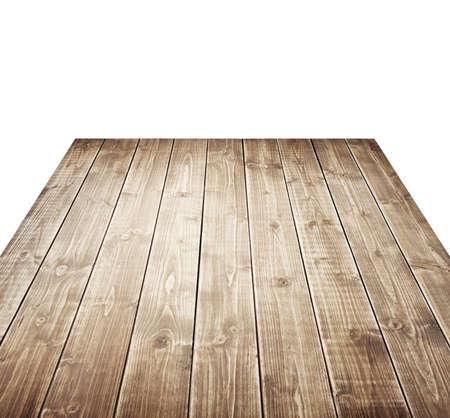 Houten tafel geïsoleerd op wit