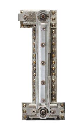 Industriële metalen alfabet nummer 1
