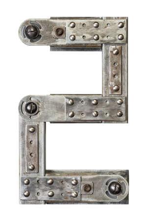 number two: Industrial metal alphabet number 2