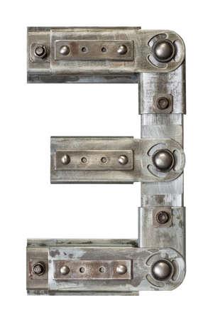 Industrial metal alphabet number 3
