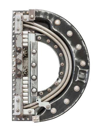 cartas antiguas: Industrial Metal alfabeto letra D