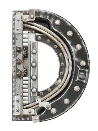 alphabet lettre: Industriel m�tal alphabet lettre D