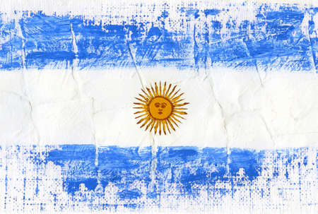 Hand painted acrylic flag of Argentina Stock Photo