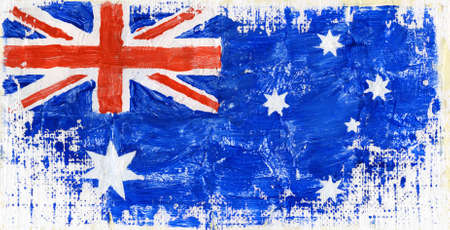 Hand painted acrylic flag of Australia photo