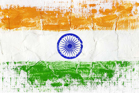 indian ink: Hand painted acrylic flag of India