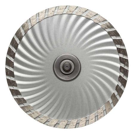 silver circle: Circular saw blade. Disk for stone cutting work. Stock Photo