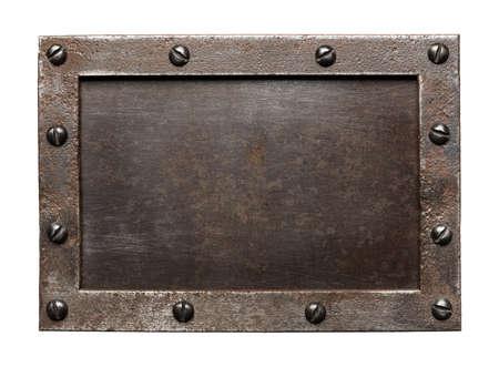 steel head: Metal plate texture with screws. Stock Photo