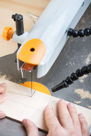 Cutting plywood board by using electrical jigsaw. Stock Photo - 24631268