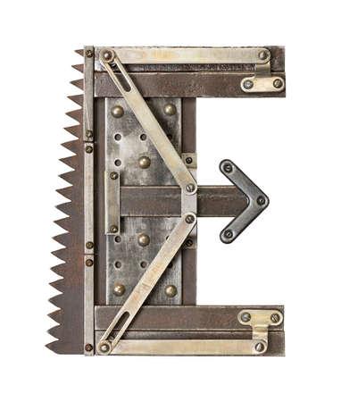 e alphabet: Industrial metal alphabet letter E