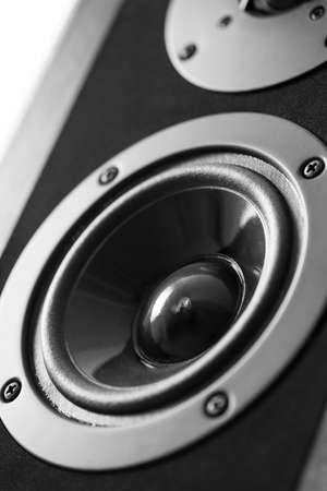equipo de sonido: Altavoz audio Negro, equipo estéreo. Foto de archivo