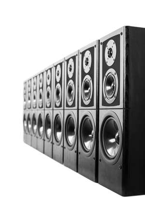 Black audio speakers, stereo equipment. photo