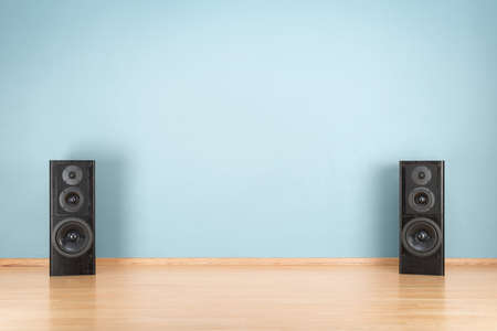 speaker system: Black audio speakers on the floor