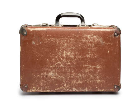 antique suitcase: Vintage brown suitcase on white background