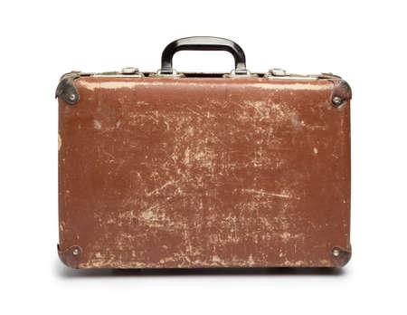 maleta: Vintage maleta marrón sobre fondo blanco Foto de archivo