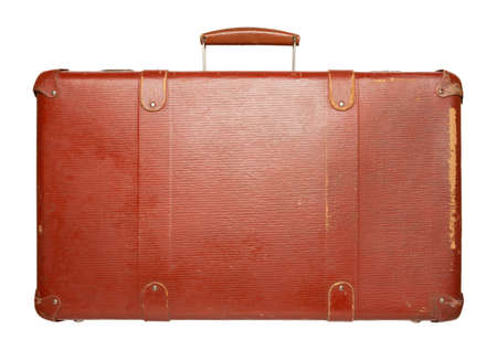 antique suitcase: Vintage red suitcase isolated on white background Stock Photo