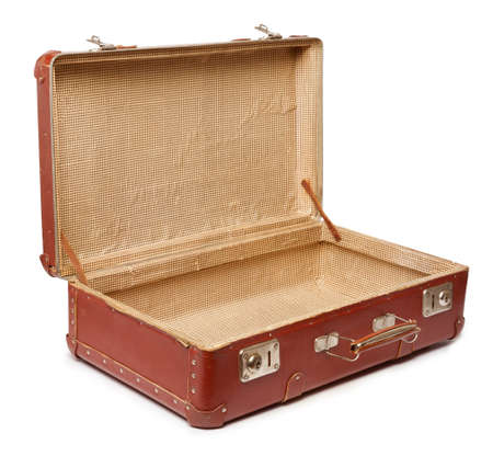 Empty vintage open suitcase on white background Imagens