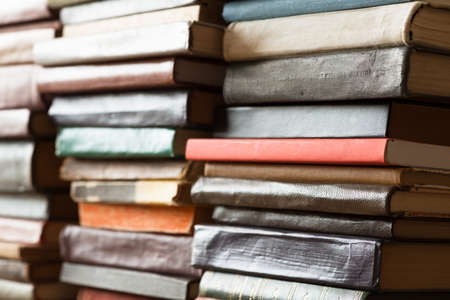 literary: Stack of old books.  Stock Photo