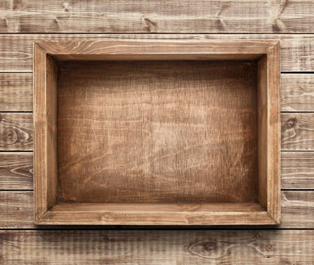 rustic  wood: Empty wooden box on the table