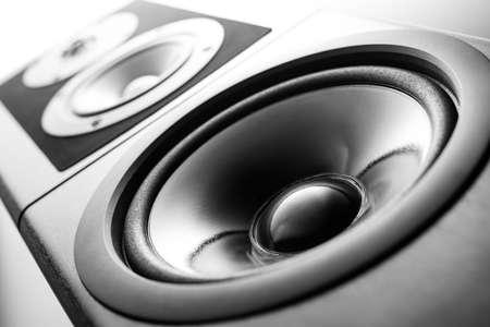 speaker box: Black audio speaker, stereo equipment.