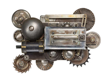 Stylized metal collage of mechanical device photo