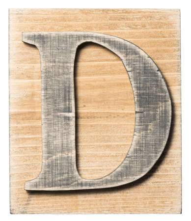 Wooden alphabet letter block isolated on white photo