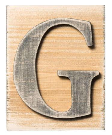 typeset: Wooden alphabet letter block isolated on white Stock Photo