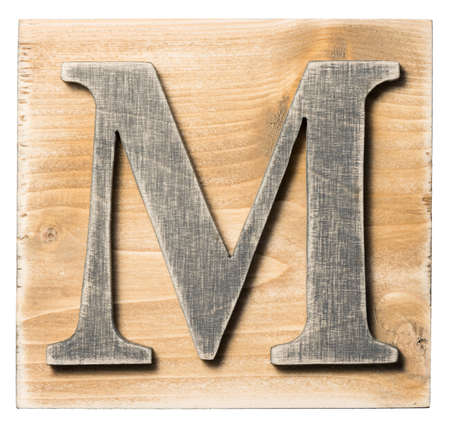 yellow block: Wooden alphabet letter block isolated on white Stock Photo
