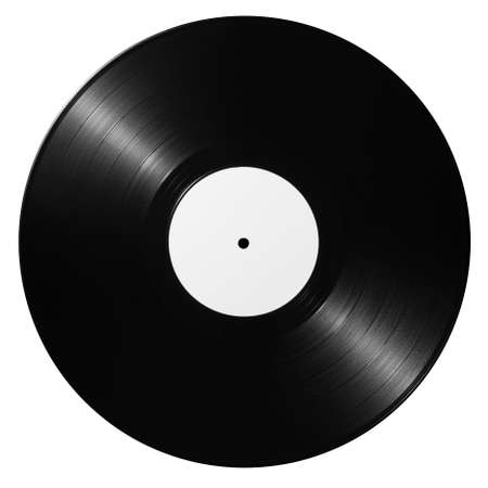 record label: Black vinyl record isolated on white background Stock Photo